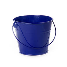 Tin Buckets Pail with Handle - Tin Bucket with Handle Dark Blue (12.5Dx10.5cmH)