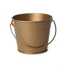 Tin Bucket with Handle Gold (12.5Dx10.5cmH)
