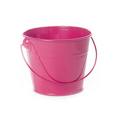 Tin Bucket with Handle Hot Pink (12.5Dx10.5cmH)