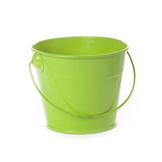 Tin Bucket with Handle Lime (12.5Dx10.5cmH)
