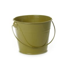 Tin Bucket with Handle Moss (12.5Dx10.5cmH)