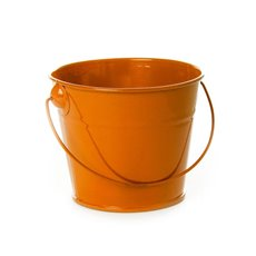 Tin Bucket with Handle Orange (12.5Dx10.5cmH)