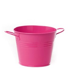 Tin Buckets Pail side handles - Tin Bucket side Handles Hot Pink (15.5Dx12cmH)