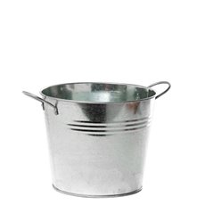 Tin Buckets Pail side handles - Tin Bucket side Handles Zinc Silver (15.5Dx12cmH)