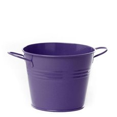Tin Buckets Pail side handles - Tin Bucket side Handles Violet (15.5Dx12cmH)