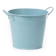 Tin Buckets Pail side handles - Tin Bucket side Handles Baby Blue (18Dx15cmH)