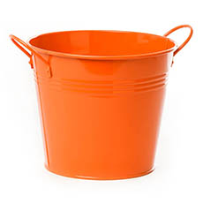 Tin Buckets Pail side handles - Tin Pot Large side Handles Orange (18Dx15cmH)