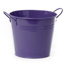 Tin Buckets Pail side handles - Tin Bucket side Handles Violet (18Dx15cmH)