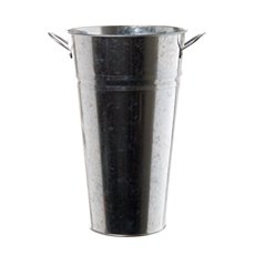 Tin Conical Display Vase with side Handle Zinc (22x41cmH)