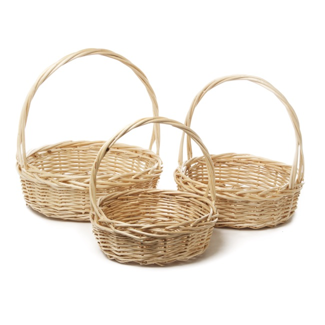 Baskets with Handles - Willow Basket with Handle Round Set of 3 Natural (34x11cmH)