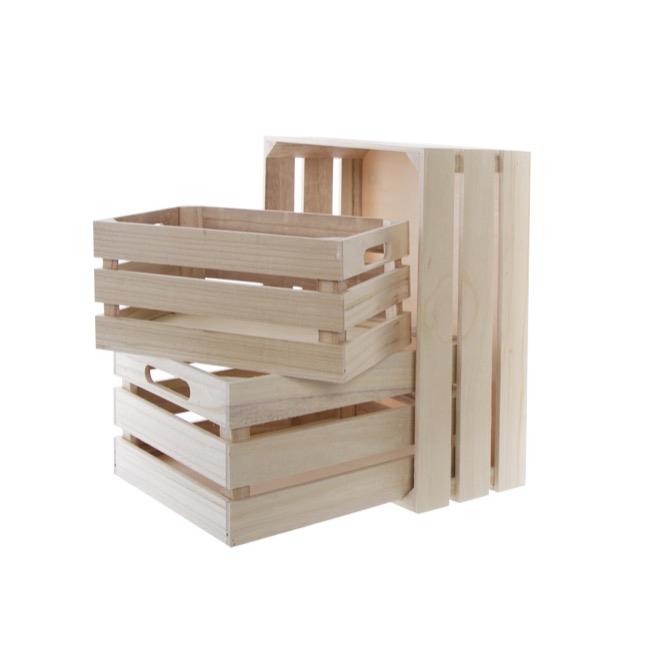 Wooden Crate Box Set Of 3 Natural 41x30x18cmh
