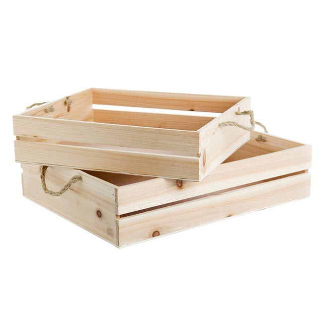 Wooden Crate Set 2 43x34x10cmH With Rope Handle Natural