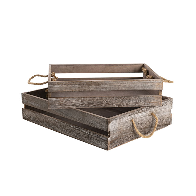 Wooden crate with rope handle set of brown cmh