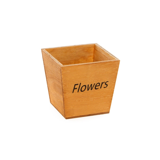 Wood Flowers Pot Square Taper 13x13x12cmH Natural Brown