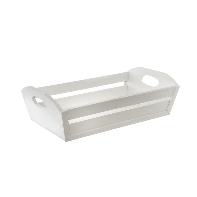 Wooden Tray Rectangle Taper White (32x20x10cmH)