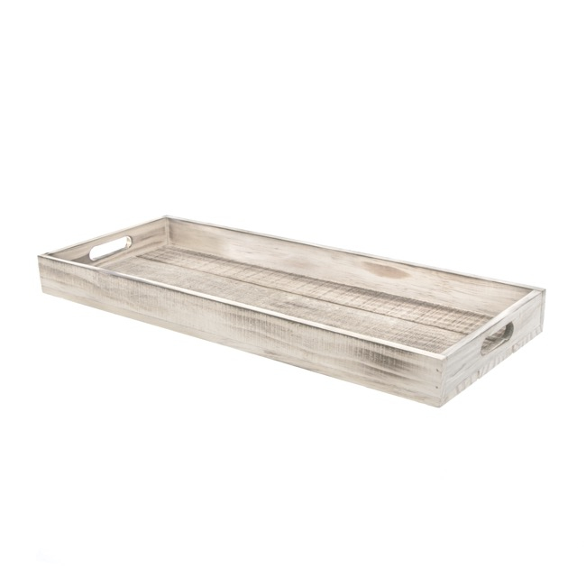 Wooden Tray White Wash (44x18x4cmH)