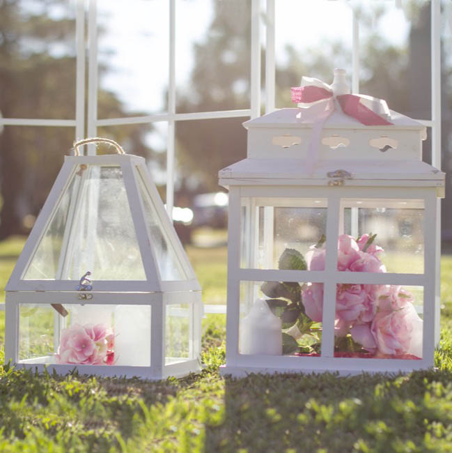 Lanterns & Hanging Candle Holders - Glass House Wooden Lantern Wishing Well White 36x22cmWx53cmH