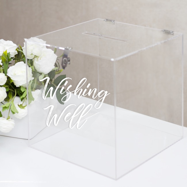 Reception Decoration - Acrylic Wishing Well Box Clear (30x30x30cmH)