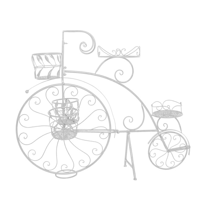 Penny Farthing Bicycle Planter White 114x25x86cmh
