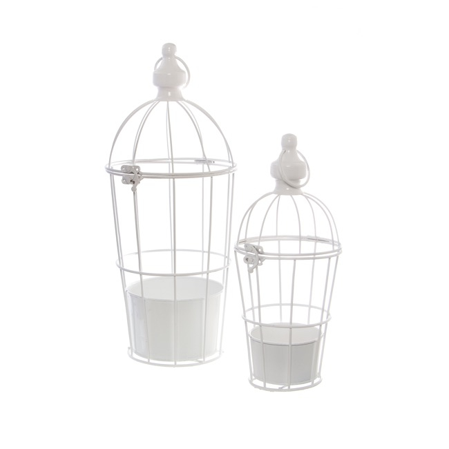 Ceremony Decoration - Wedding Birdcage with Flower Tray Set of 2 White (17x40cmH)