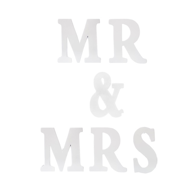 Wedding Letters - Metal Letters MR & MRS White (6 Letters 18.5Wx4.5Dx22H)