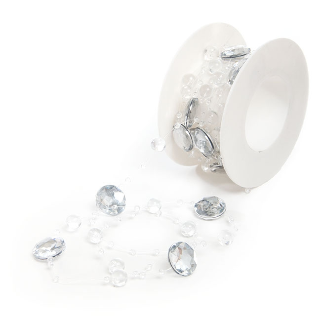 Corsage Beaded Florist Wire - Crystal & Diamante Garland Roll Clear (3m)