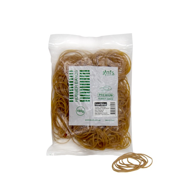 Rubber Bands - Rubber Bands Natural Bag 100g Size 16 (60mmLx1.5mmW)