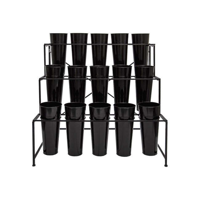 Flower Display Stand - Flower Stand Display 3-Tier 97x67x95cmH 15 Buckets Black