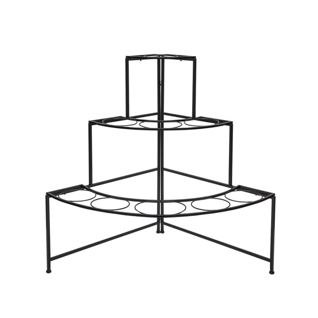 Flower Display Stand - Flower Stand Display 3-Tier Angle 94x67x95cmH 9Buckets Black