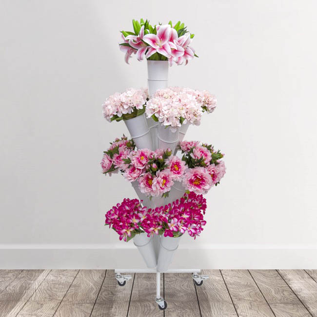 Flower Display Stand - Flower Stand Eco 4-Tier 51x145cmH 13 Buckets White