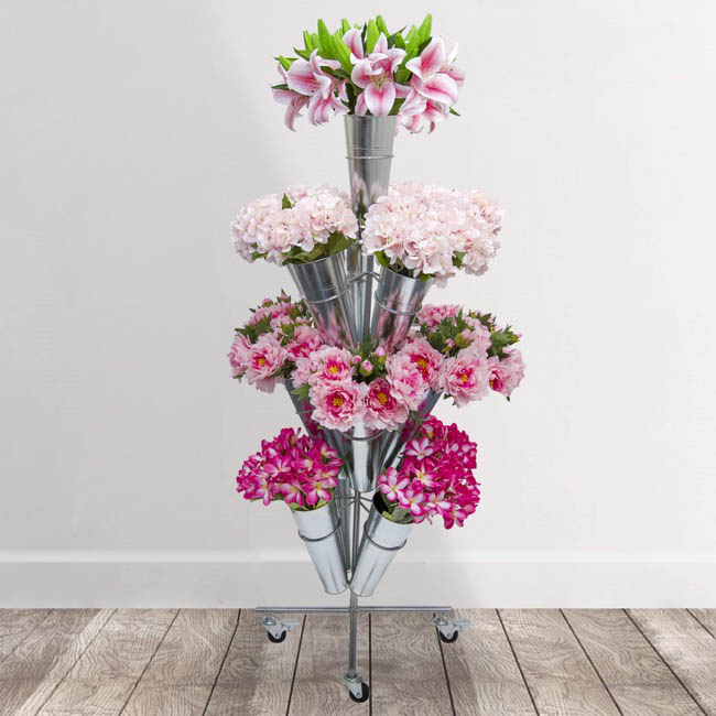 Flower Display Stand - Flower Stand Centre Eco 4-Tier 51x145cmH 13 Buckets Zinc