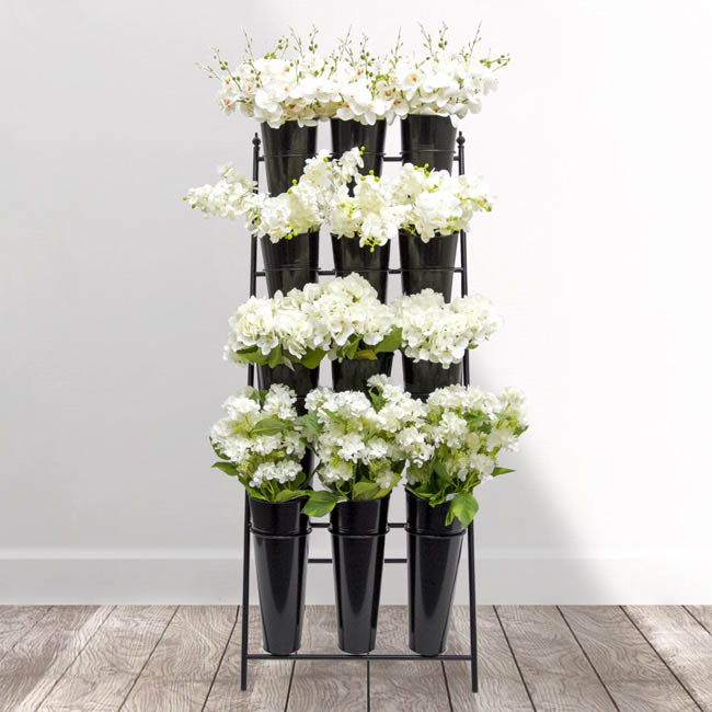 Flower Display Stand - Flower Stand Concise 4-Tier 59x67x138cmH 12 Buckets Black