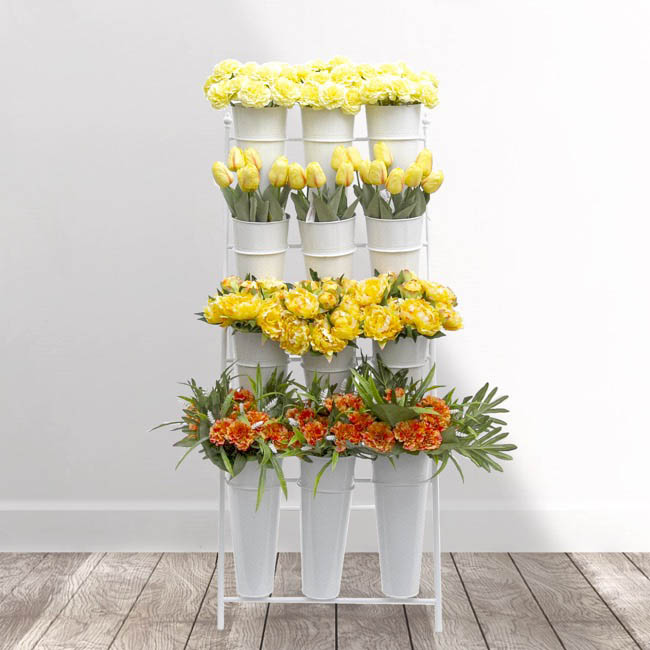 Flower stand concise 4 tier 59x67x138cmh 12 buckets white flower display stand flower stand concise 4 tier 59x67x138cmh 12 buckets white mightylinksfo