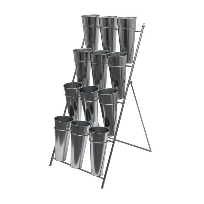 Flower Display Stand - Flower Stand Concise 4-Tier 59x67x138cmH 12 Buckets Zinc