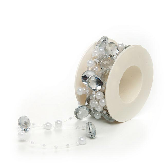 Crystal Royale Roll With Diamond & Pearls 4m White Silver