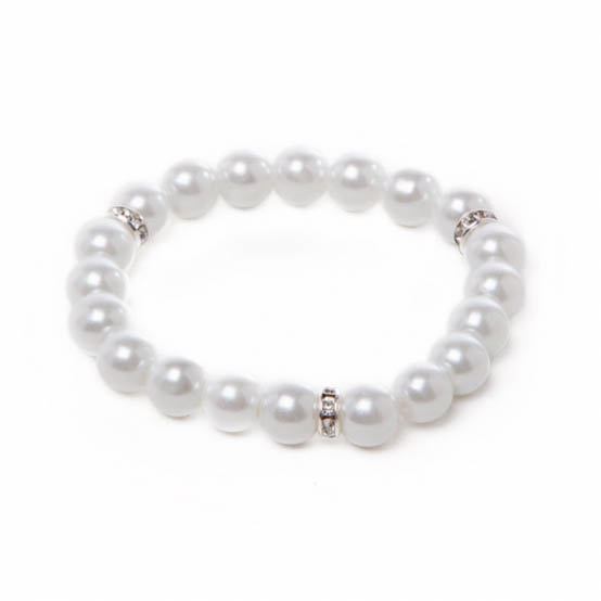 Corsage Diamante Decal Pearl Bracelet x 1 Strand Pearl
