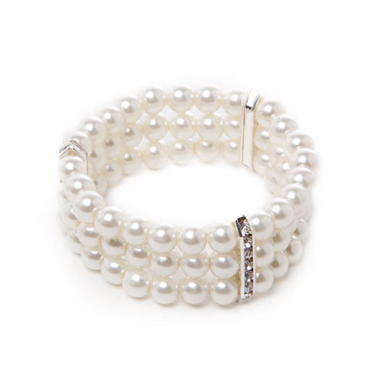 Corsage Diamante Decal Pearl Bracelet x 3 Strand Pearl Ivory