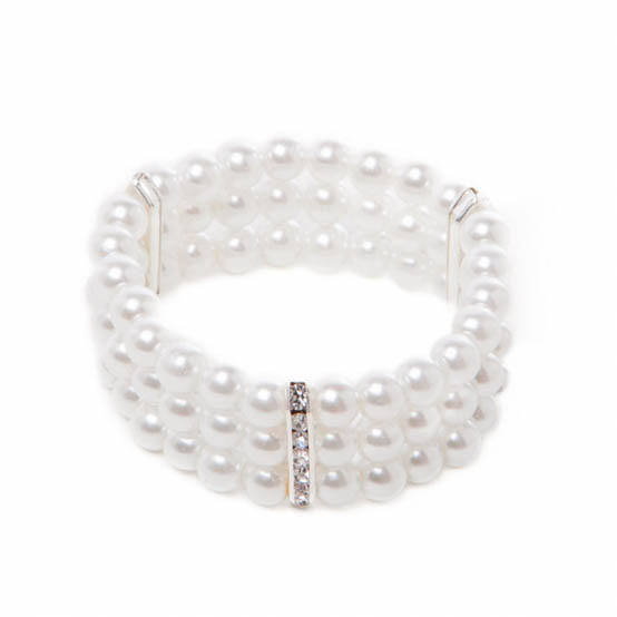 Corsage Diamante Decal Pearl Bracelet x 3 Strand Pearl White