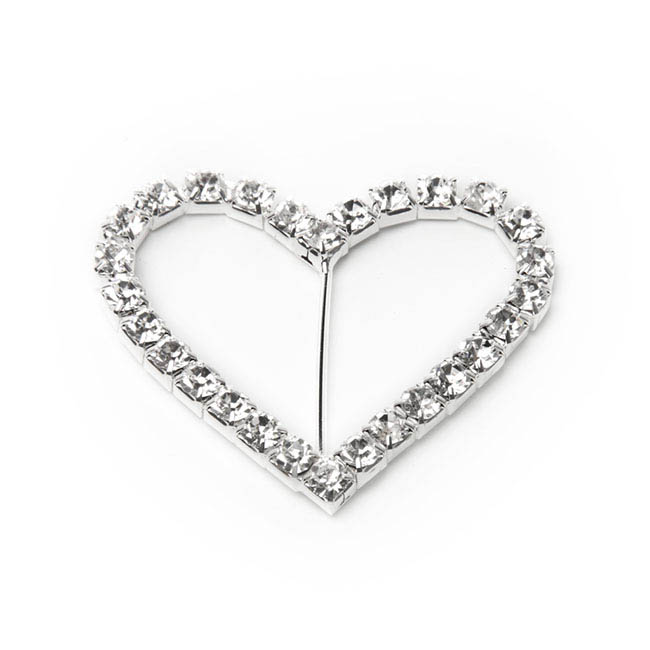 Corsage Buckle Diamante Heart (40mmx45mm)