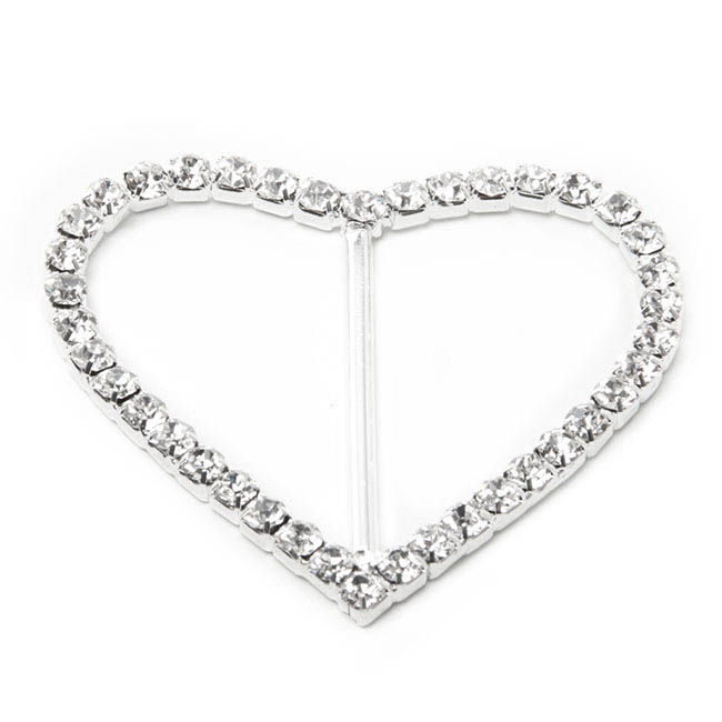 Corsage Bouquet Buckles - Corsage Buckle Diamante Heart Large (48mmx55mm)