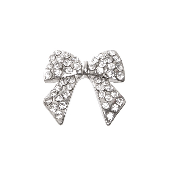 Corsage Buckle Ribbon Bow Diamante Silver (18mm)