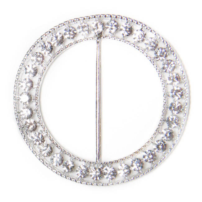 Corsage Bouquet Buckles - Corsage Buckle Diamante Round Large Silver (60mm) Pack 12