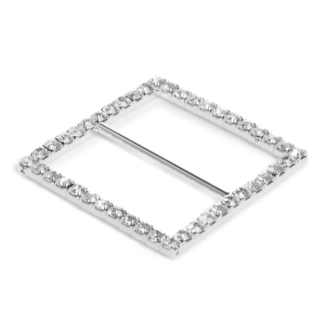 Corsage Bouquet Buckles - Corsage Buckle Diamante Square Large Silver (45mm) Pack 12