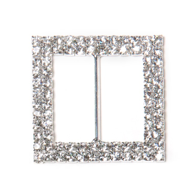 Corsage Bouquet Buckles - Corsage Buckle Double Diamante Square Silver (45mm) Pack 12