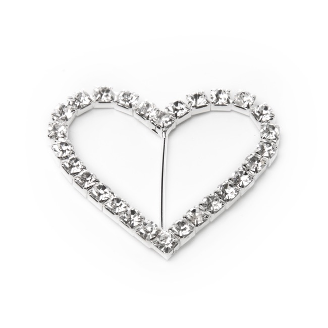 Corsage Bouquet Buckles - Corsage Buckle Diamante Heart Medium (40mmx45mm) Pack 12