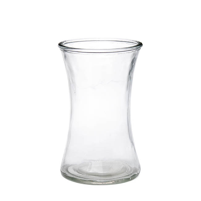 Glass Country Vase Concaved Sided 12.5Dx20cmH Clear