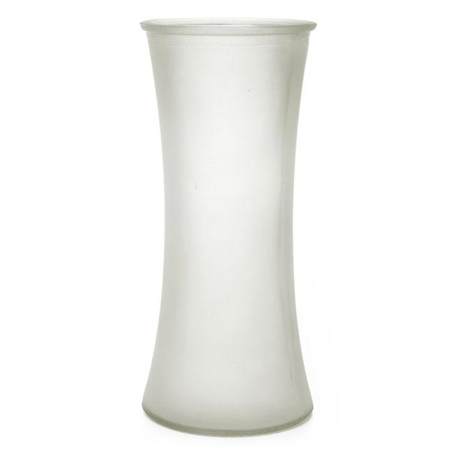 Recycled Style & Coloured Vases - Glass Country Vase Concaved Sided Frost Clear (11Dx25cmH)