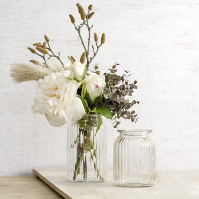 Recycled Style Glass Vases - Hurricane Glass Jar Clear Medium (11Dx14.5cmH)