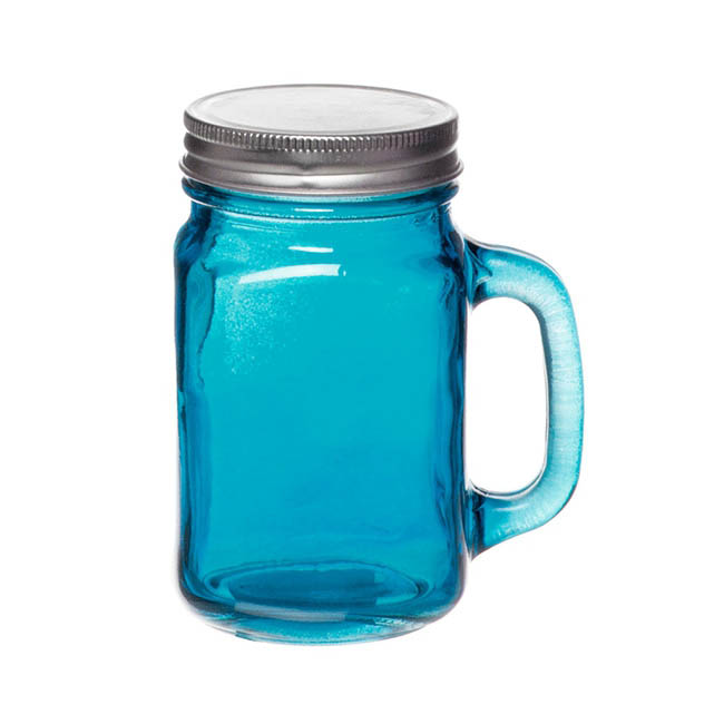 Glass Mason Jar Medium with Handle and Lid 8.5Dx13.5cmH Blue
