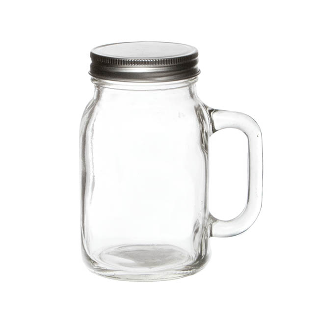 Mason Jars - Glass Mason Jar Large with Handle and Lid 13Dx15cmH Clear
